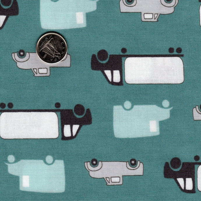 Mighty Machines by Lydia Nelson for Moda Cloudburst Teal Background Big Cars and Trucks