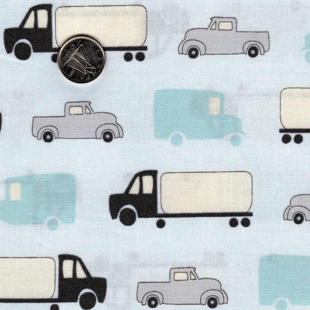 Mighty Machines by Lydia Nelson for Moda Sky High Very Light Blue Background Big Cars and Trucks Teal Black