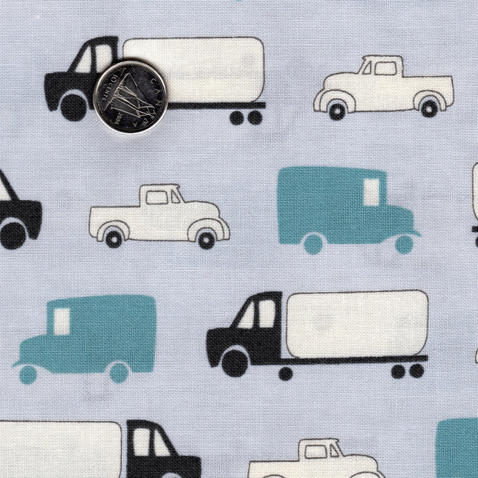 Mighty Machines by Lydia Nelson for Moda Misty Very Light Gray Big Trucks and Cars Teal and Black