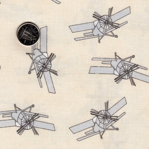 Mighty Machines by Lydia Nelson for Moda - Background Cream Misty Very Light Gray Airplanes