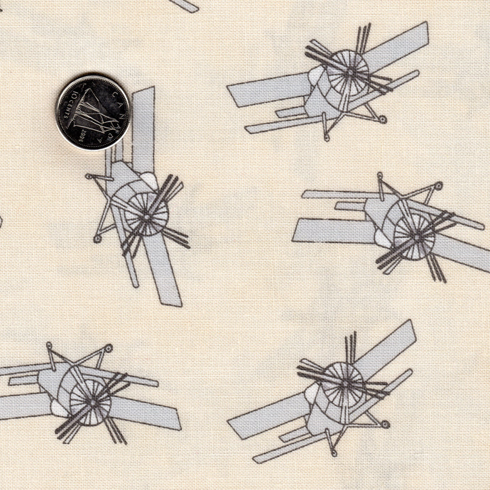 Mighty Machines by Lydia Nelson for Moda Cream Background Misty Very Light Gray Airplanes