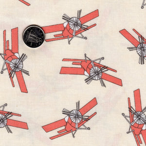 Mighty Machines par Lydia Nelson pour Moda - Background Creamy Reddish Coral Airplanes