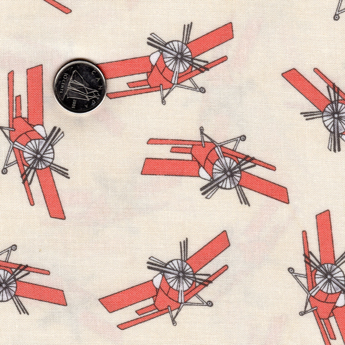 Mighty Machines by Lydia Nelson for Moda Creamy Background Reddish Coral Airplanes