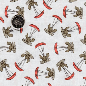 Mighty Machines by Lydia Nelson for Moda - Misty Very Light Gray Dogs Parachuting Coral