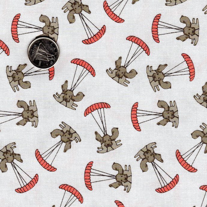 Mighty Machines by Lydia Nelson for Moda Misty Very Light Gray Dogs Parachuting Coral