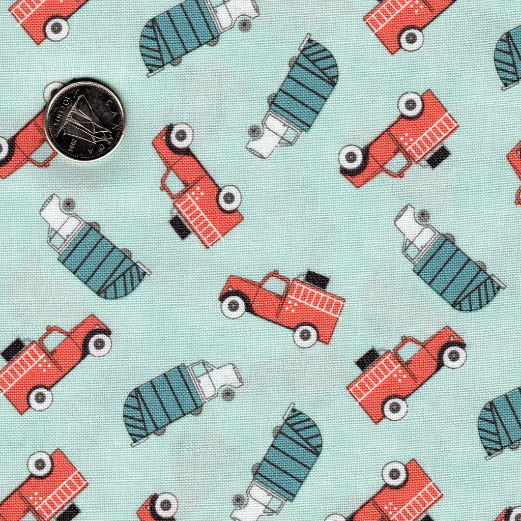 Mighty Machine by Lydia Nelson for Moda Meander Blue Very Light Blue Background Coral and Teal Garbage, Fire Trucks