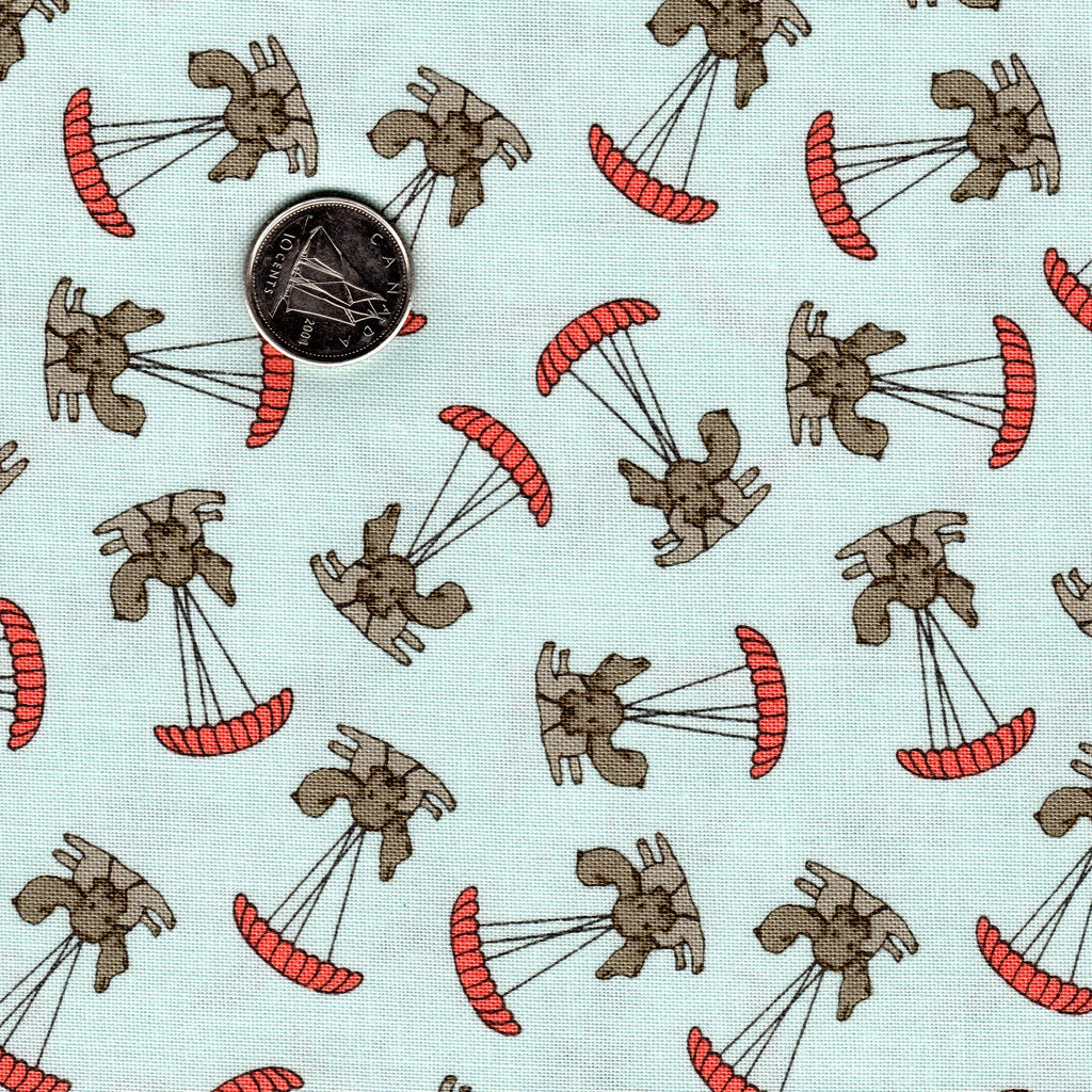 Mighty Machines by Lydia Nelson for Moda Meander Blue Very Light Blue Background Dogs Parachuting Coral
