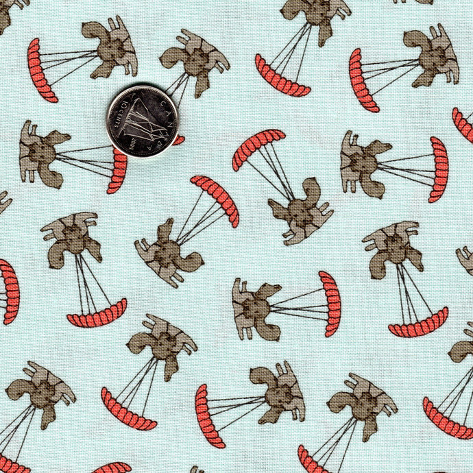 Mighty Machines by Lydia Nelson for Moda Very Light Blue Background Dogs Parachuting