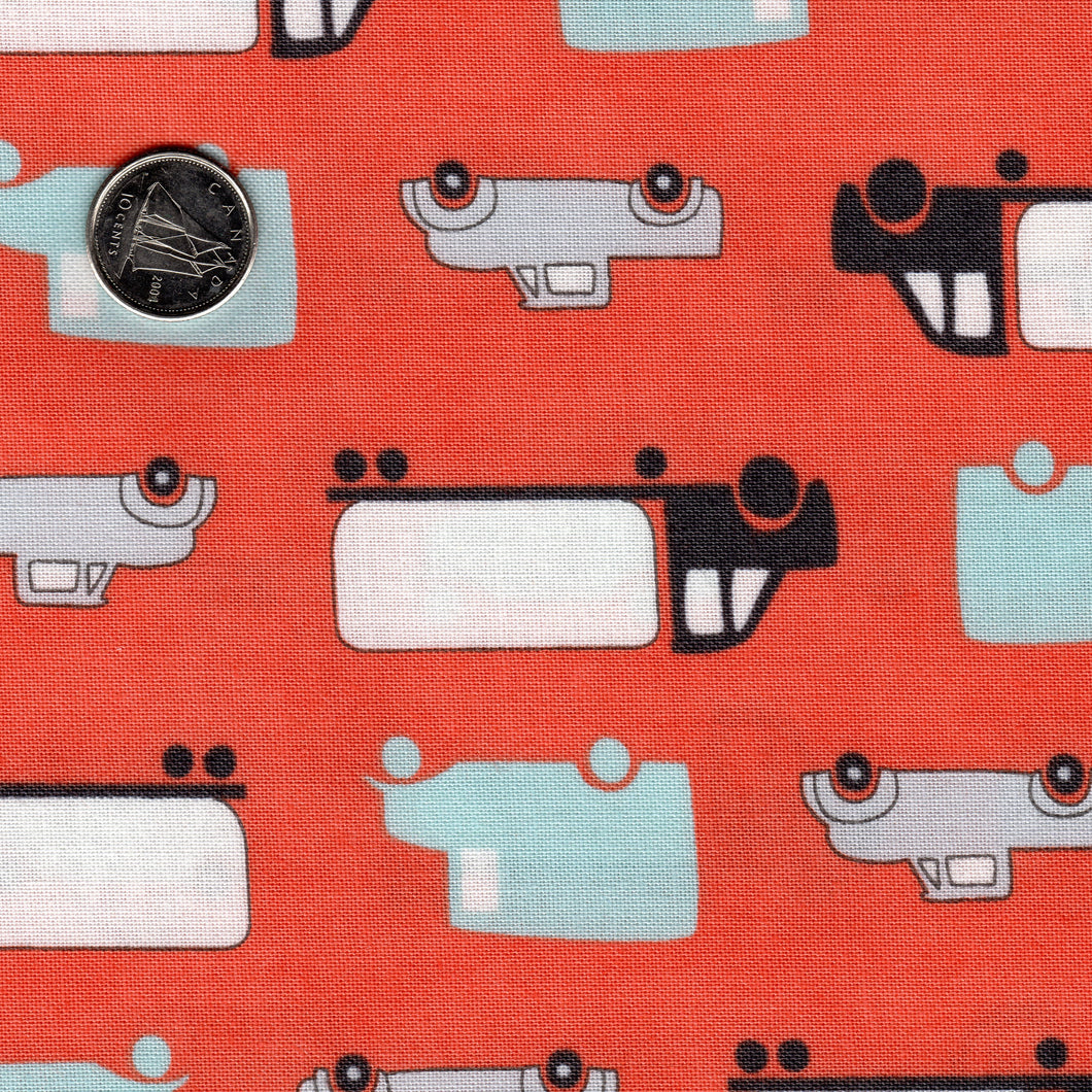 Mighty Machines by Lydia Nelson for Moda - Reddish Coral Background Big Cars and Trucks