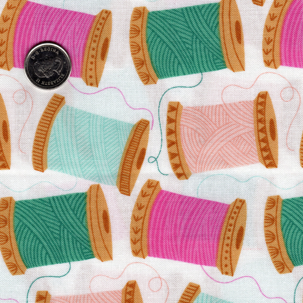 "Spools of Thread ""Stitch"" Designed by Bethan Janine for Dashwood Studio Background White"