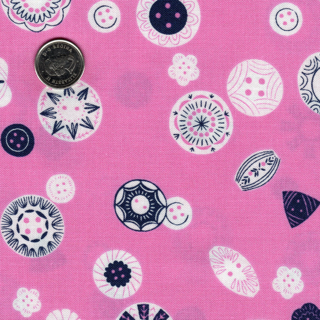 "Buttons ""Stitch"" by Bethan Janine for Dashwood Studio Background Pink"