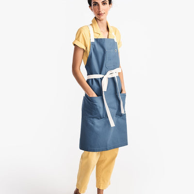 The All Day Crossback Apron - Blue Moss