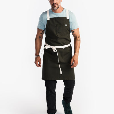 The All Day Crossback Apron - Moss