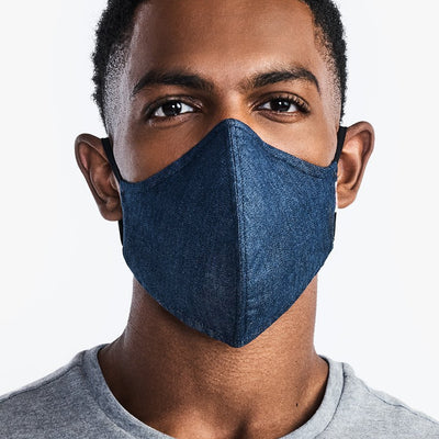 '-Wake Up & Fight Face Mask 2.0 - Dark Blue Chambray-CUBREBOCAS