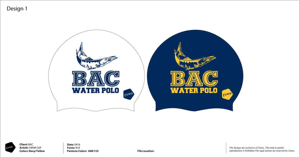 BAC Water Polo Latex Swim Caps (2 blue/ 2 white)