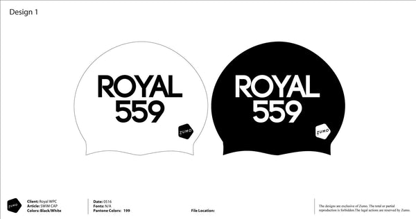 Royal Water Polo Academy Latex Swim Caps 2-pack