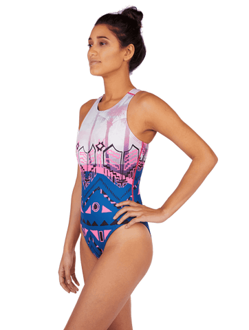 Aztec Palm Women's Euro Water Polo Suit