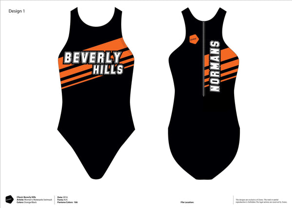 Beverly Hills High School Women's Original Water Polo Suit (Custom Name Option)