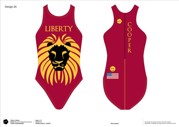 Liberty HS GWP Women's Classic Water Polo Suit (Custom Name Option)