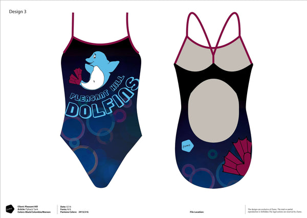 Pleasant Hill Dolphins Swim Team Flyback Suit