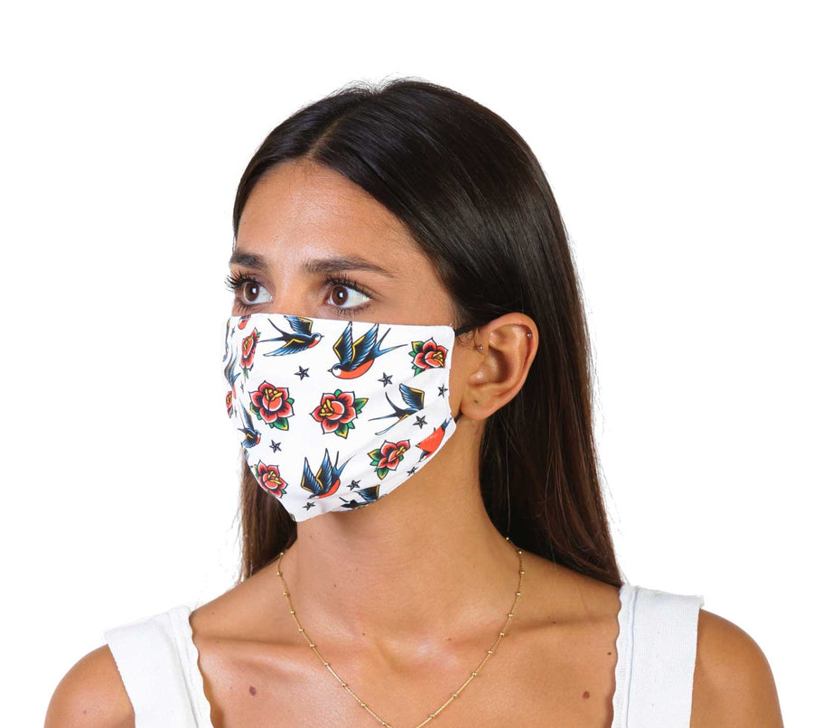 Swallows & Roses Face Mask