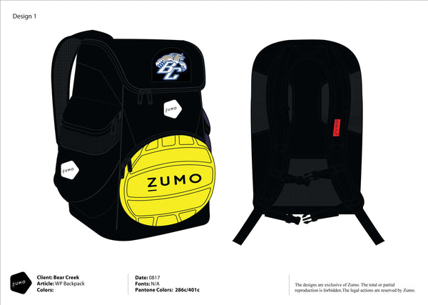 Bear Creek HS Water Polo Team Water Polo Backpack (Custom Name Option)