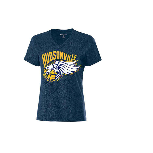Hudsonville HS Water Polo V-Neck Ladies T-Shirt (Custom Name Option)