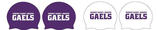 Mount Saint Joseph Saints Water Polo Latex Swim Caps (1 purple 1 white)