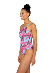 Banana Leaves Athletic One Piece Swimsuit Peacock Blue