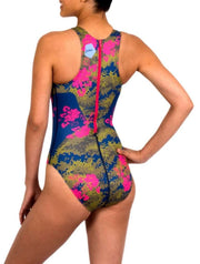 Floral Camo Women's Classic Water Polo Suit Back