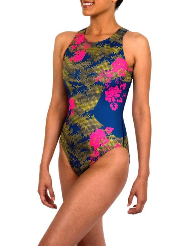 Floral Camo Women's Classic Water Polo Suit Front
