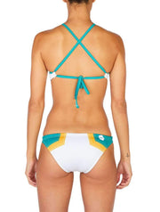 Hermosa Colorblock Cross Tie Bikini Top White-Kelly Green Back