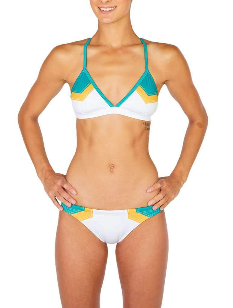 Hermosa Colorblock Cross Tie Bikini Top White-Kelly Green