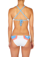 Hermosa Colorblock Cross-Tie Bikini Top White-Sky Blue Back