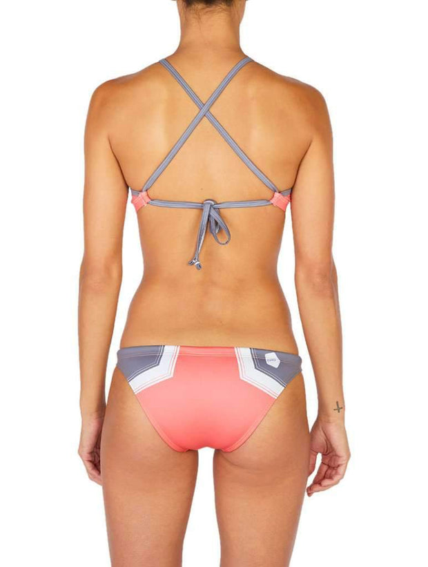 Hermosa Colorblock Euro Cut Bikini Bottom Sunset Pink-Soft Grey Back