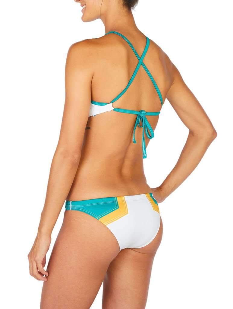 Hermosa Colorblock Euro Cut Bikini Bottom White-Kelly Green