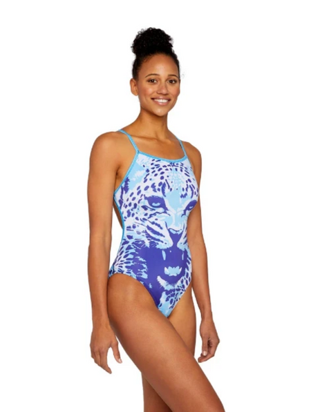 Leopard Cut-Out Women's Training Swimsuit Electric Blue