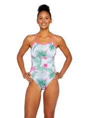 Tropical Day Dream Swim Tank Raspberry Front