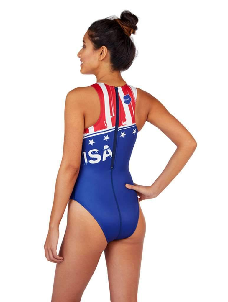 USA Vintage Women's Euro Water Polo Suit Back