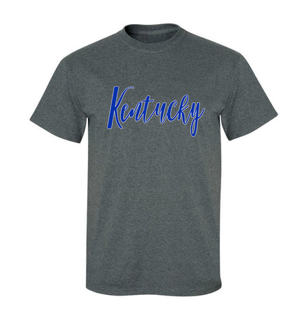 JCS Dark Heather Gray Script Kentucky Tee Shirt