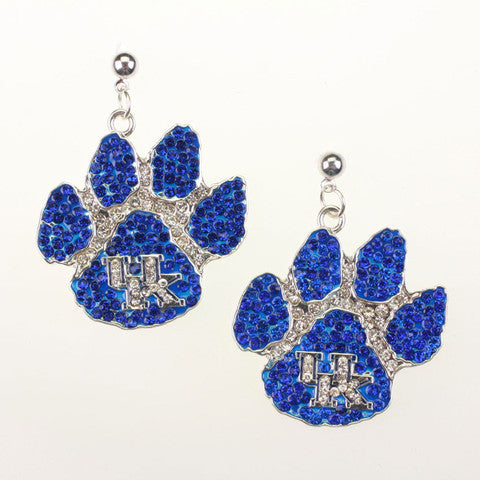 Kentucky Wildcats Paw Logo Crystal Earrings By Seasons Jewlery