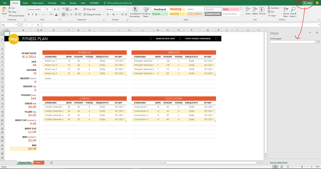 track your fitness, excel, office 365