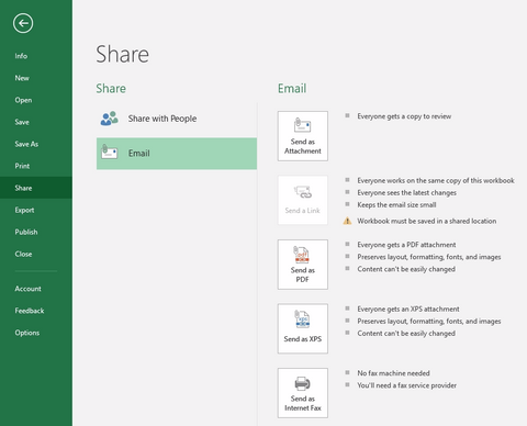 excel 2016, share through email
