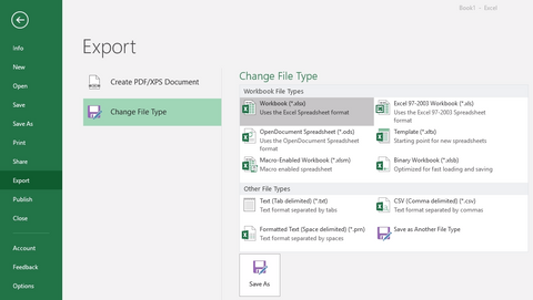 excel 2016, change file type