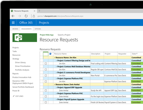 Systematic resource request in Microsoft Project 2016