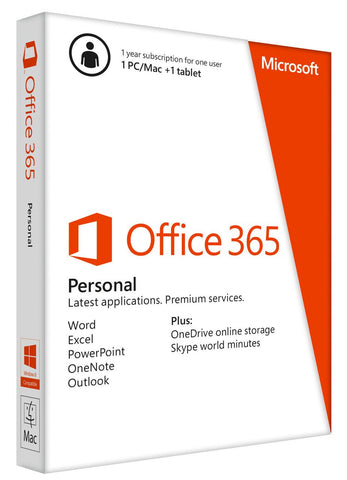 Microsoft Office 365 Personal- PC, Mac, Android, Apple iOS - 1 tablet, 1 PC/Mac Retail Box - MyChoiceSoftware.com