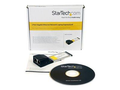 StarTech.com Dual Port ExpressCard Gigabit Laptop Ethernet NIC Network Adapter Card - Network adapter - ExpressCard - Gigabit Ethernet x 2 - MyChoiceSoftware.com