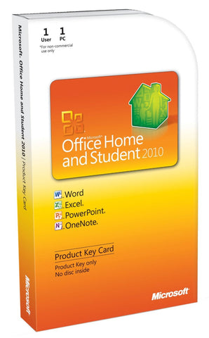 Microsoft Office Home and Student 2010 Product Key Card Box