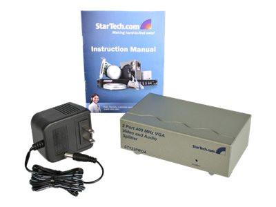 StarTech.com 2 Port High Resolution VGA Video Splitter with Audio - 400 MHz - Video/audio splitter - desktop - for P/N: ST121RGB, ST121EXTGB, ST121R, ST121EXT - MyChoiceSoftware.com