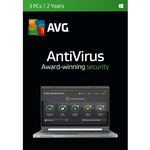 (Renewal) AVG Antivirus 3 PC 2 Years Retail Box.